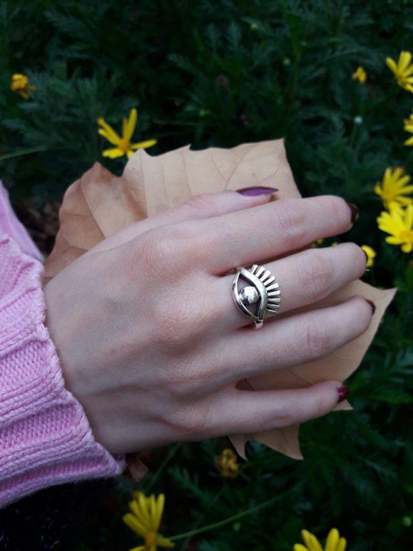 anillo plata de ley ojo