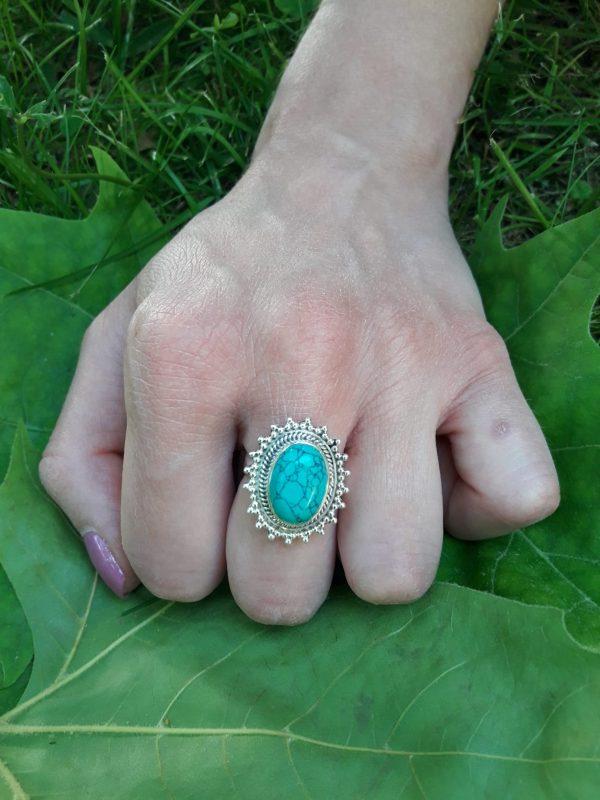 Anillo Sheila Plata de Ley 925 piedra natural turquesa